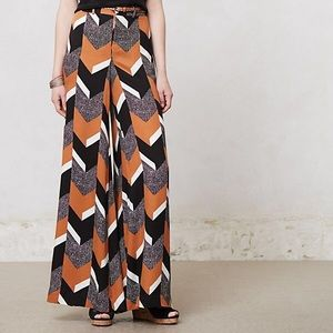 Anthro Elevenses wide-leg trousers chevron pattern